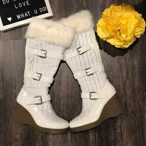🌸 White Quilted Boots🌸
